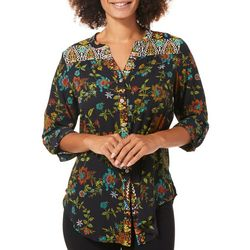 Figueroa and Flower Womens Mixed Floral Button Down Top