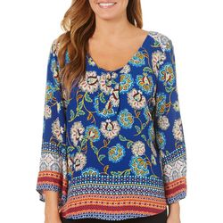 Figueroa and Flower Womens Floral Medallion Tie Neck Top
