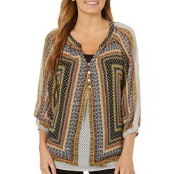 Figueroa and Flower Womens Tribal Dot Print Top