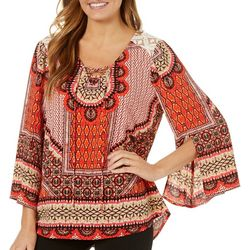Figueroa and Flower Womens Boho Lace-Up Top