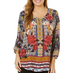 Figueroa and Flower Womens Floral Border Print Top