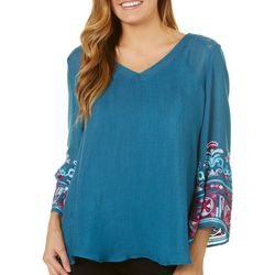 Figueroa and Flower Womens Embroidered Sleeves Top