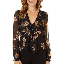 Willow & Clay Womens Floral Tie Front Long Sleeve Top