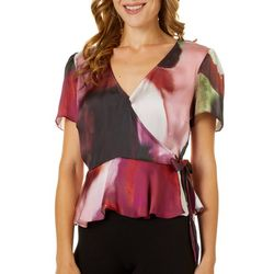 Willow & Clay Womens Watercolor Wrap Short Sleeve Top