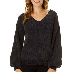 Willow & Clay Womens Solid Back Detail Long Sleeve Sweater