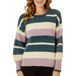 Willow & Clay Womens Striped Crew Neck Long Sleeve Sweater