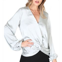 Do + Be Womens Solid Twist Front Long Sleeve Top