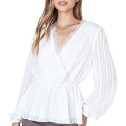 Do + Be Womens Subtle Striped Lace Trim Long Sleeve Top
