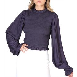 Do + Be Womens Solid Smocked High Neck
