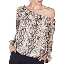 Do + Be Womens Snakeskin Off The Shoulder Long Sleeve Top