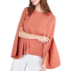 Do + Be Womens Solid Button Detail Long Sleeve Top