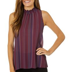 Chenault Womens Dotted Stripe Smocked Sleeveless Top