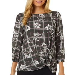 Chenault Womens Striped Floral Twist Front Top