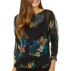 Chenault Womens Floral Sheer Round Neck Top