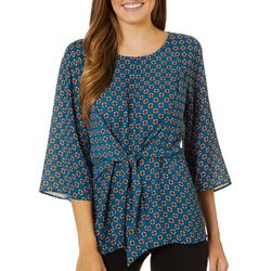Chenault Womens Geo Print Tie Front Long Sleeve Top