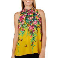 Chenault Womens Floral Smocked High Neck Sleeveless Top