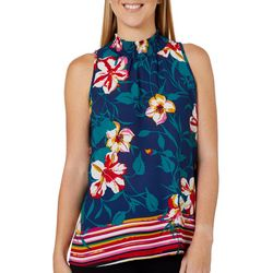 Chenault Womens Floral Stripe Smocked Sleeveless Top