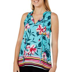 Chenault Womens Floral Stripe Tie Neck Sleeveless Top