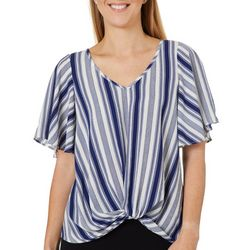 Chenault Womens Striped Twist Front Flutter Sleeve Top