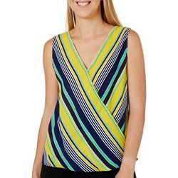 Chenault Womens Striped Surplice Sleeveless Top