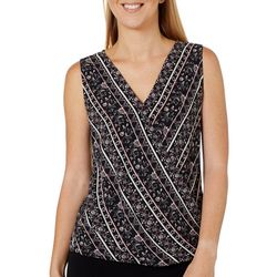 Chenault Womens Floral Striped Surplice Sleeveless Top