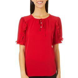 Chenault Womens Solid Tied Neckline Ruffle Sleeve Top