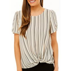 Chenault Womens Striped Twist Front Short Sleeve Top