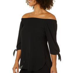 Chenault Womens Solid Tie Sleeve Off The Shoulder Top
