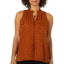Chenault Womens Subtle Leopard Smocked Sleeveless Top