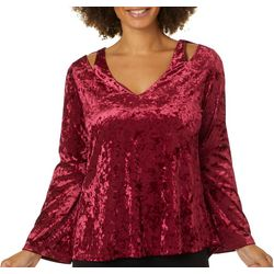 Chenault Womens Solid Velvet Cold Shoulder Bell Sleeve Top