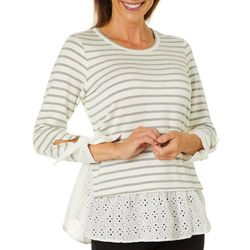 Chenault Womens Striped Eyelet Detail Faux Layered Top