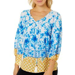 Chenault Womens Floral Print Border Top