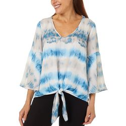Chenault Womens Watercolor Stripe Print Tie Front Top
