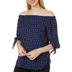 Chenault Womens Polka Dot Tie Sleeve Off The Shoulder Top