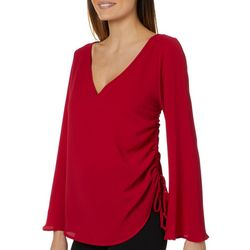 Chenault Womens Side Ruched Bell Sleeve Top