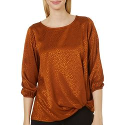 Chenault Womens Subtle Stone Solid Twist Front Top