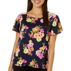 C'est La Vie Womens Floral Print Lace Back Short Sleeve Top