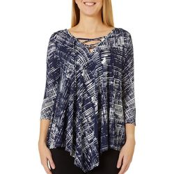 C'est La Vie Womens Mixed Stripe Lace Up Neckline Top