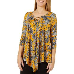 C'est La Vie Womens Paisley Floral Lace Up Neckline Top
