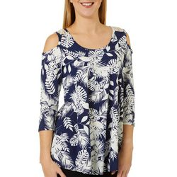 C'est La Vie Womens Palm Print Mesh Detail Sleeveless Top