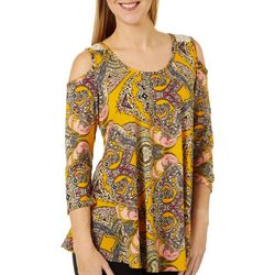 C'est La Vie Womens Paisley Print Cold Shoulder Top