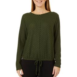 C'est La Vie Womens Solid Ribbed Tie Front Long Sleeve Top
