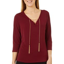 C'est La Vie Womens Solid Lace Up Neckline Chain Detail Top