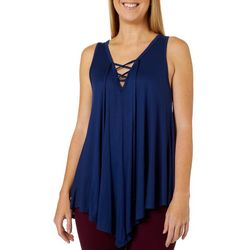 C'est La Vie Womens Solid Lace-Up V-Neck Sleeveless
