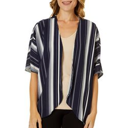 C'est La Vie Womens Striped Short Sleeve Kimono Top