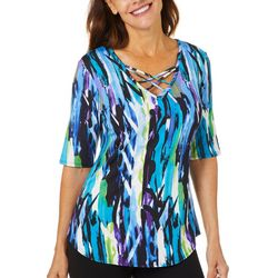 C'est La Vie Womens Abstract Print Lace Up Neckline Top