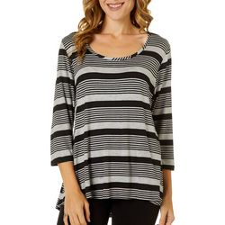 C'est La Vie Womens Striped Scoop Neck Top