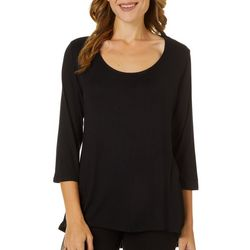 C'est La Vie Womens Solid Scoop Neck Top