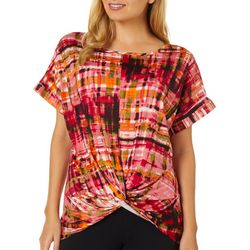 C'est La Vie Womens Mixed Print Knot Front Top