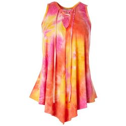 C'est La Vie Womens Tie Dye Lace Up Asymmetrical Top